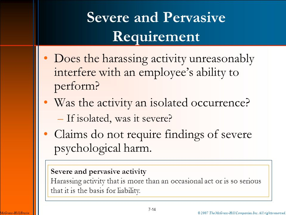 Severe and Pervasive Requirement