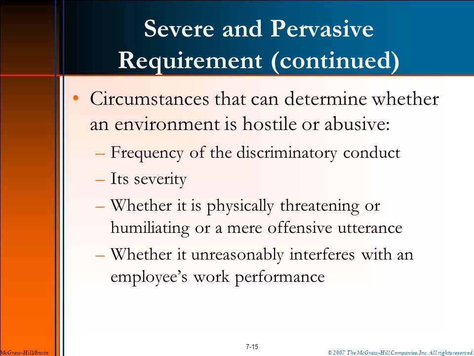 Severe and Pervasive Requirement (continued)