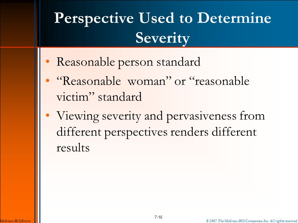 Perspective Used to Determine Severity