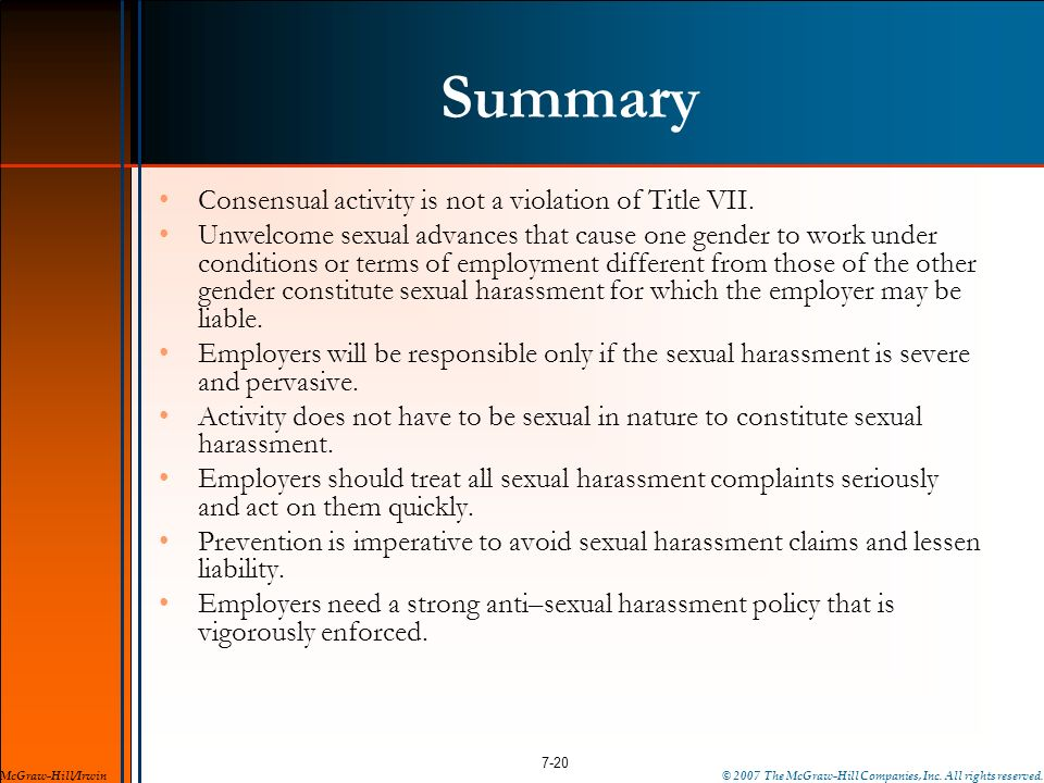 Summary Consensual activity is not a violation of Title VII.