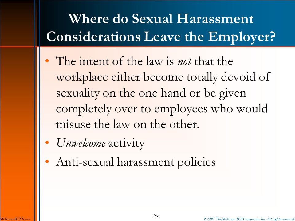 Where do Sexual Harassment Considerations Leave the Employer