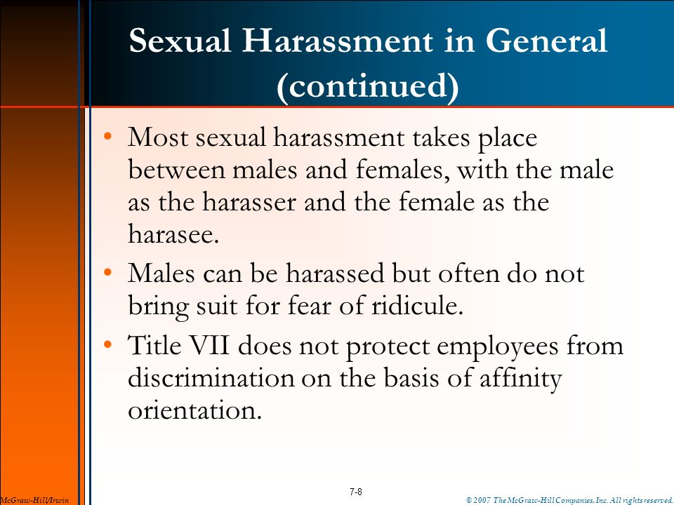 Sexual Harassment in General (continued)