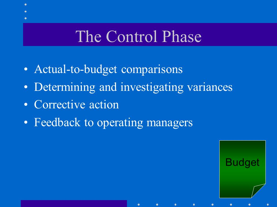 The Control Phase Actual-to-budget comparisons