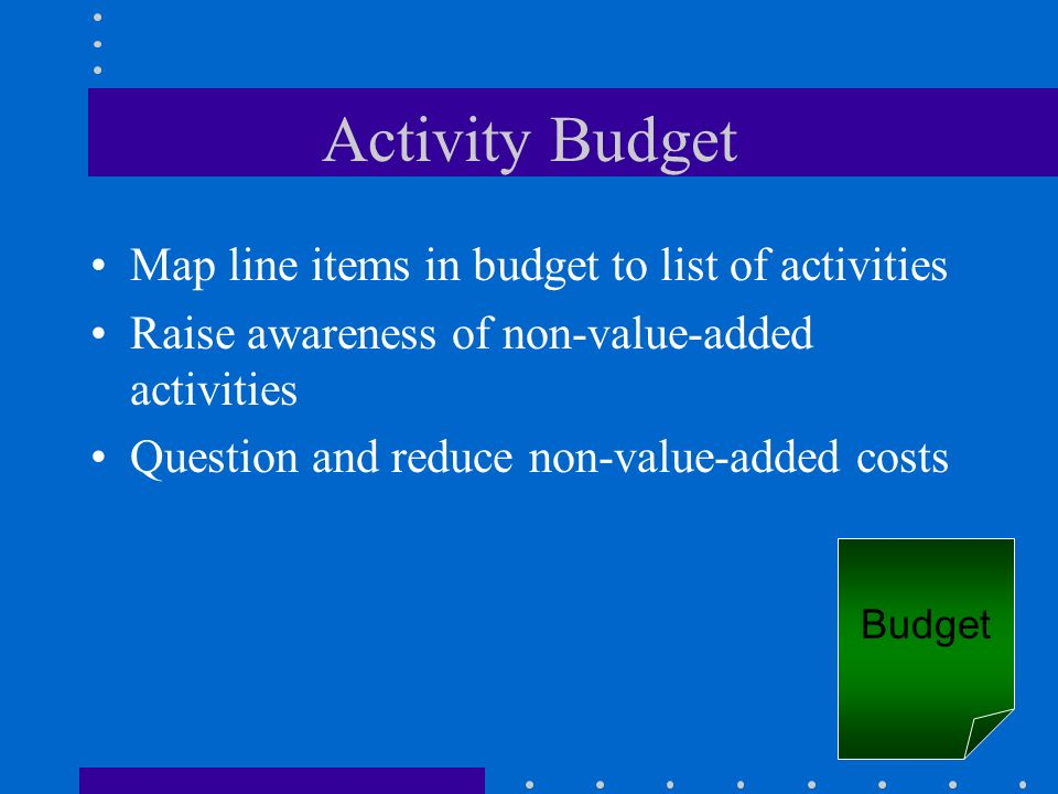 Activity Budget Map line items in budget to list of activities