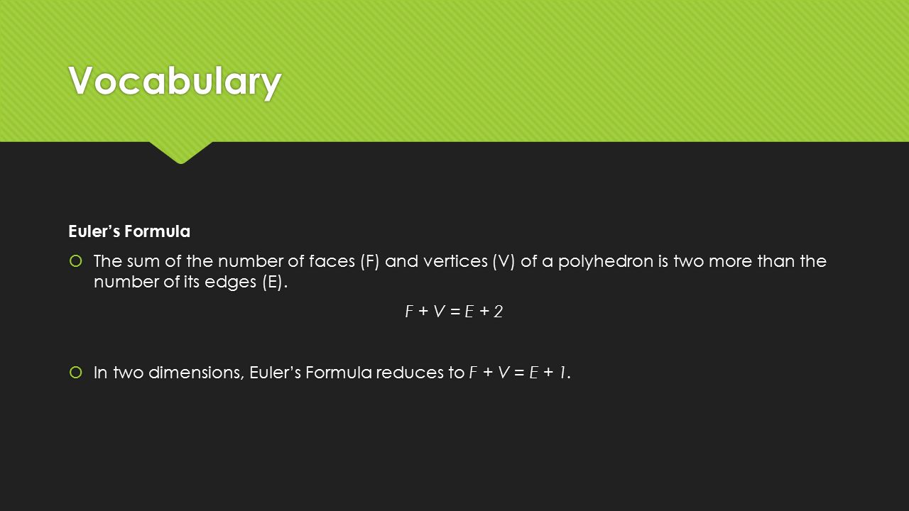 Vocabulary Euler's Formula How To Find The Area Of A Trapezoid With The  Diagonals Flashcards Quantitative