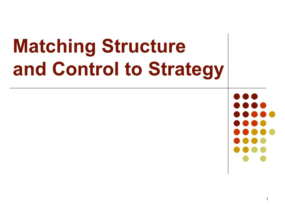 Matching Structure and Control to Strategy