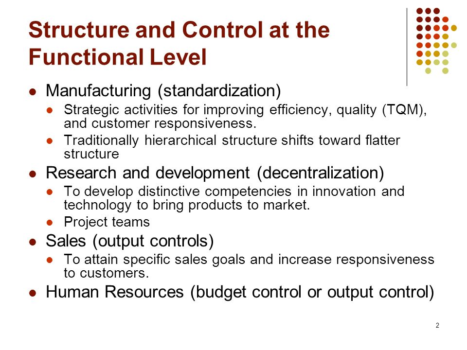 Structure and Control at the Functional Level