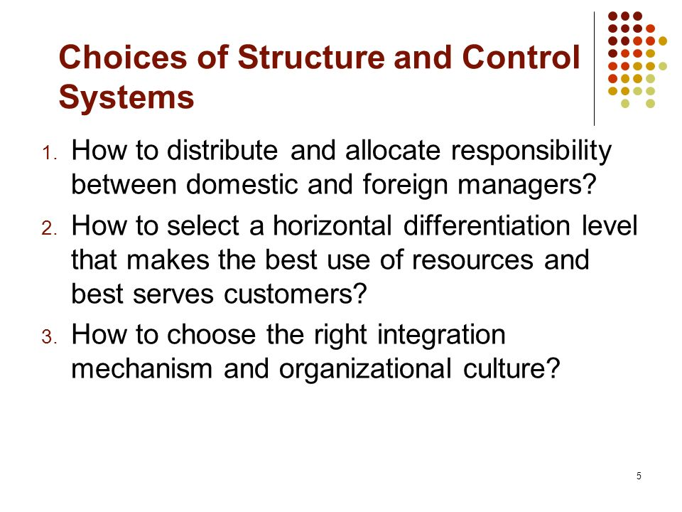 Choices of Structure and Control Systems