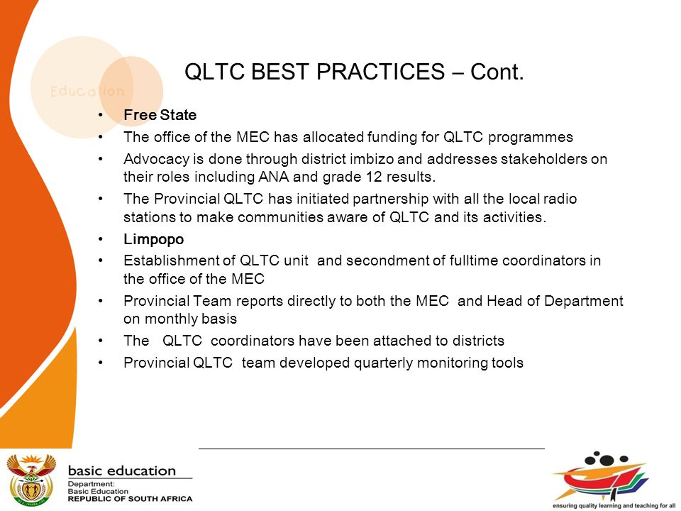 QLTC BEST PRACTICES – Cont.
