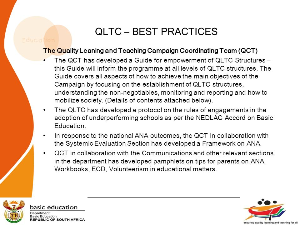 QLTC – BEST PRACTICES The Quality Leaning and Teaching Campaign Coordinating Team (QCT)