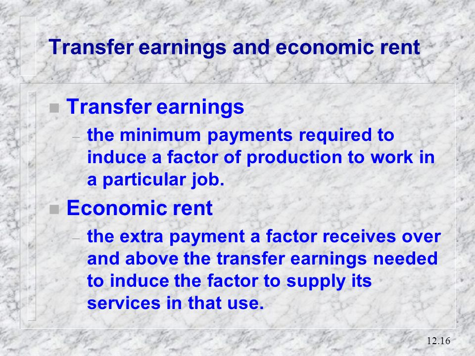 Transfer earnings and economic rent