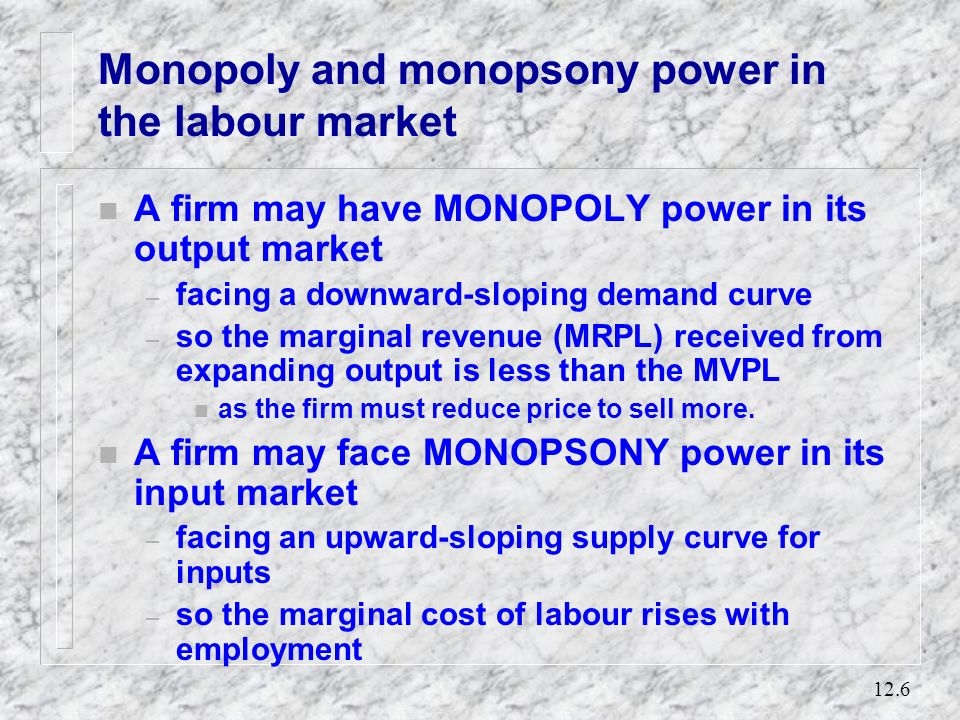 Monopoly and monopsony power in the labour market
