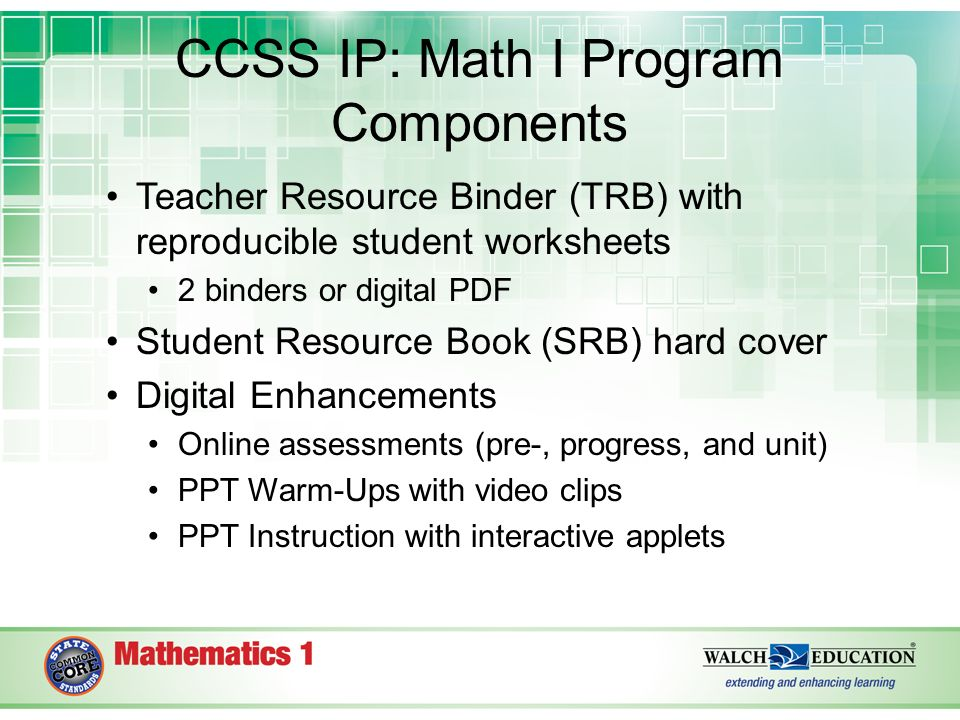 Common Core State Standards Integrated Pathway Math 1 ppt video – Reproducible Student Worksheet