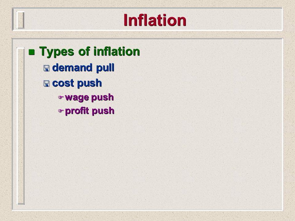 Inflation Types of inflation demand pull cost push wage push