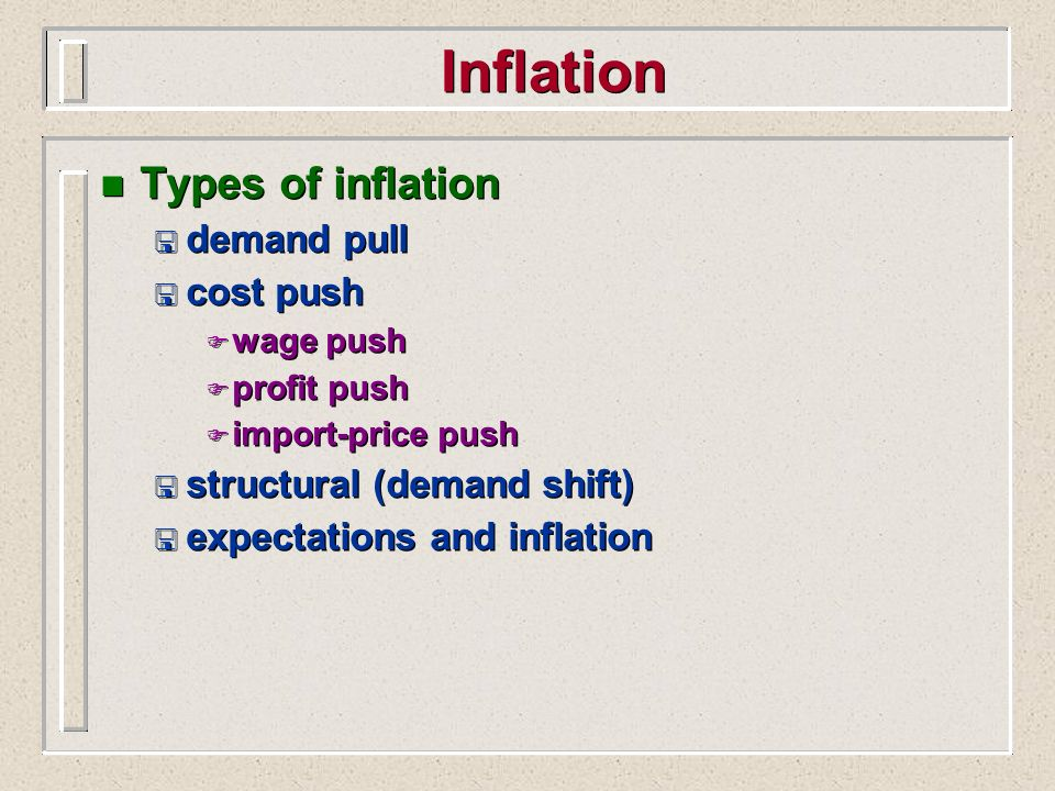 Inflation Types of inflation demand pull cost push