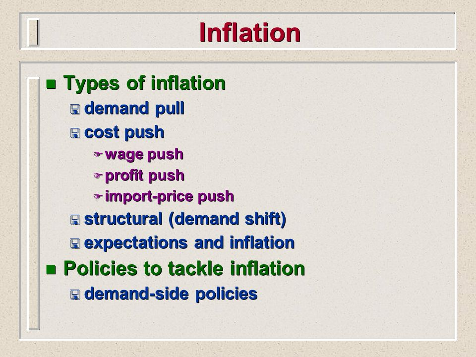 Inflation Types of inflation Policies to tackle inflation demand pull