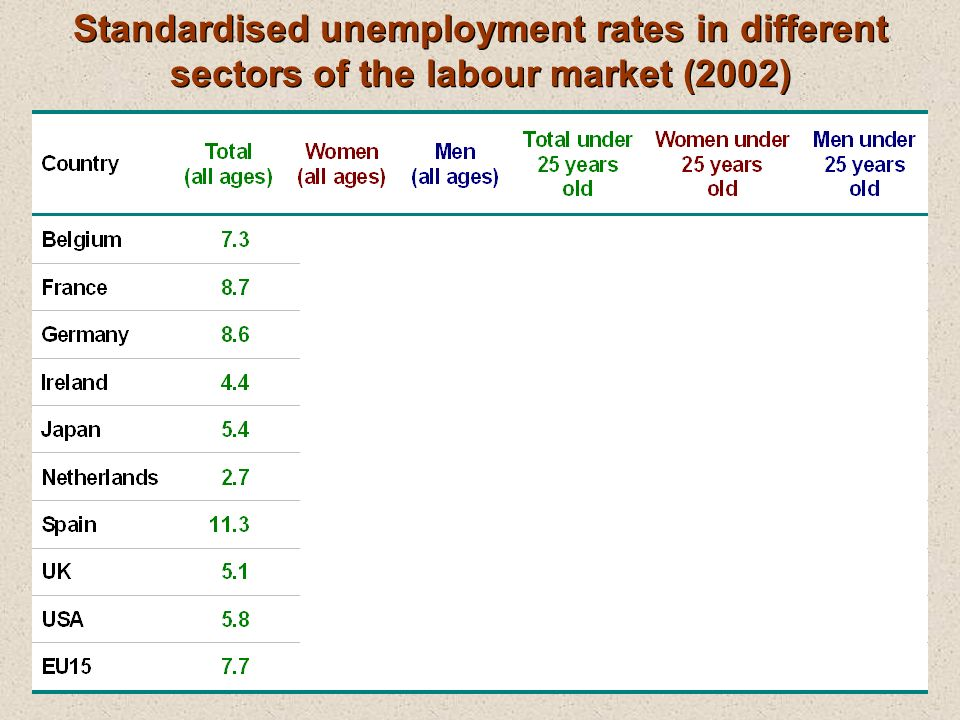 Standardised unemployment rates in different sectors of the labour market (2002)