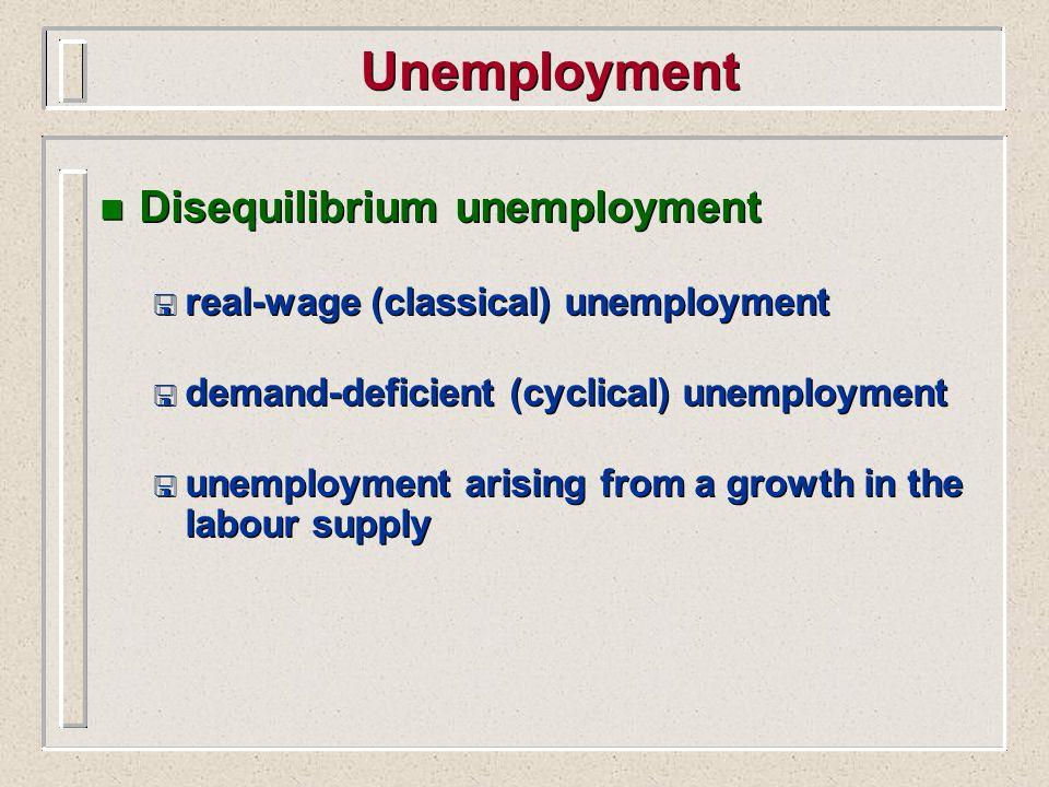 Unemployment Disequilibrium unemployment