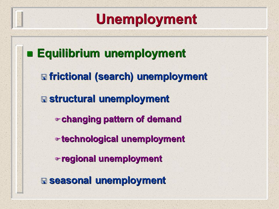 Unemployment Equilibrium unemployment frictional (search) unemployment