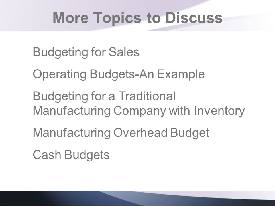 More Topics to Discuss Budgeting for Sales