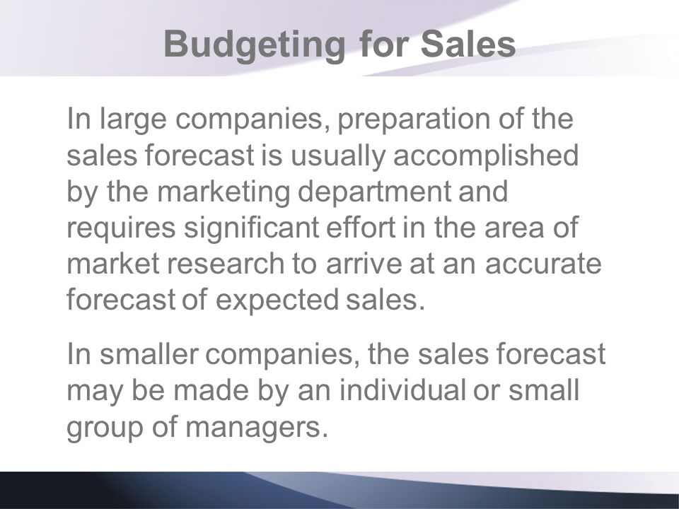 Budgeting for Sales