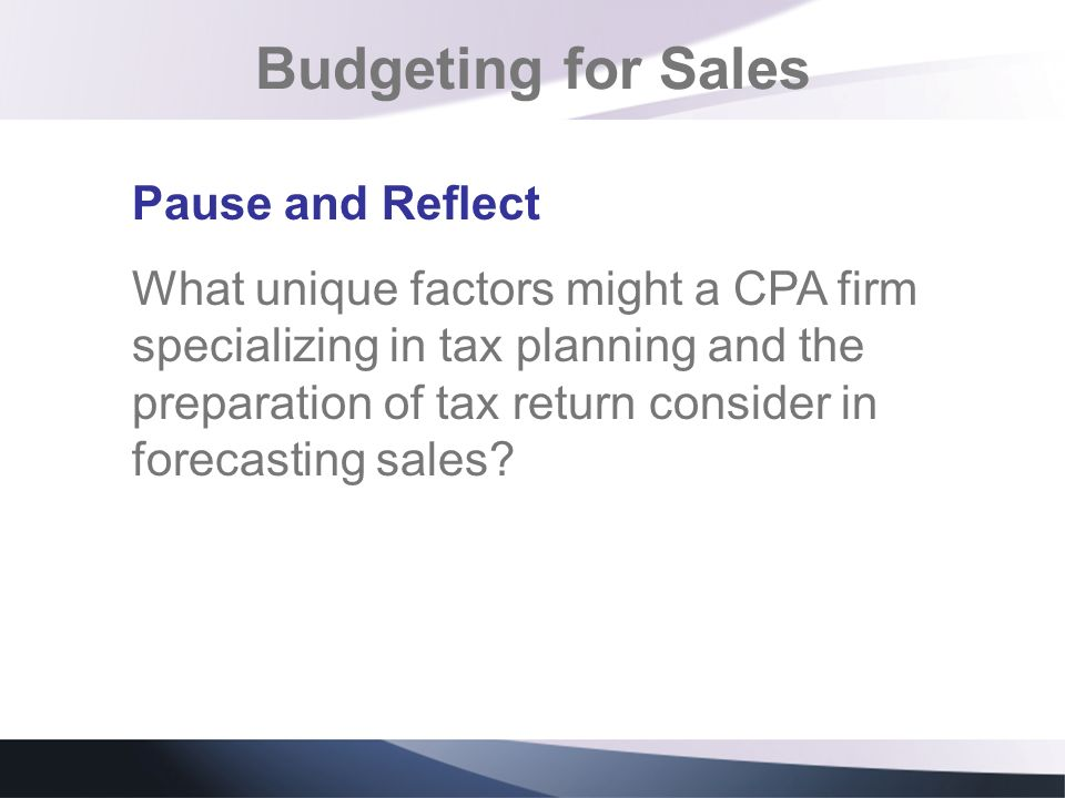 Budgeting for Sales Pause and Reflect