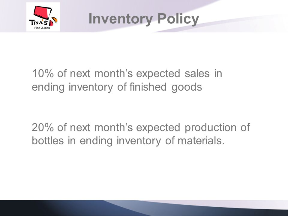 Inventory Policy 10% of next month's expected sales in ending inventory of finished goods.