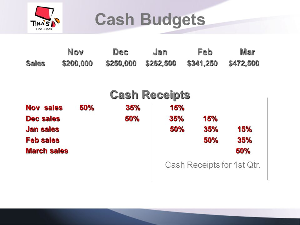 Cash Budgets Cash Receipts Nov Dec Jan Feb Mar