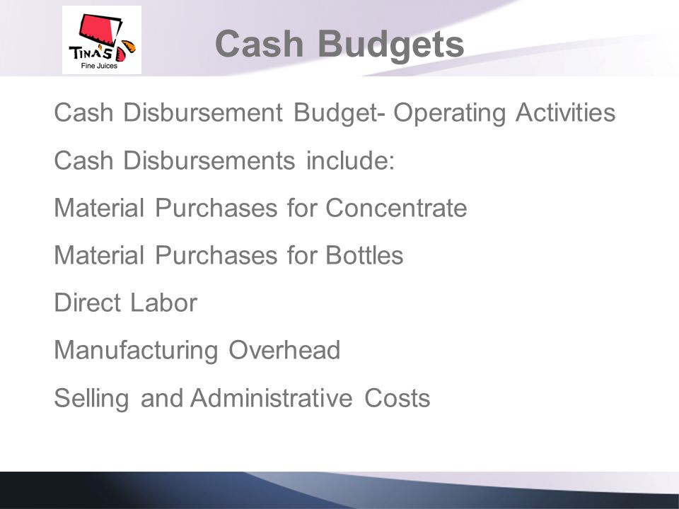 Cash Budgets Cash Disbursement Budget- Operating Activities