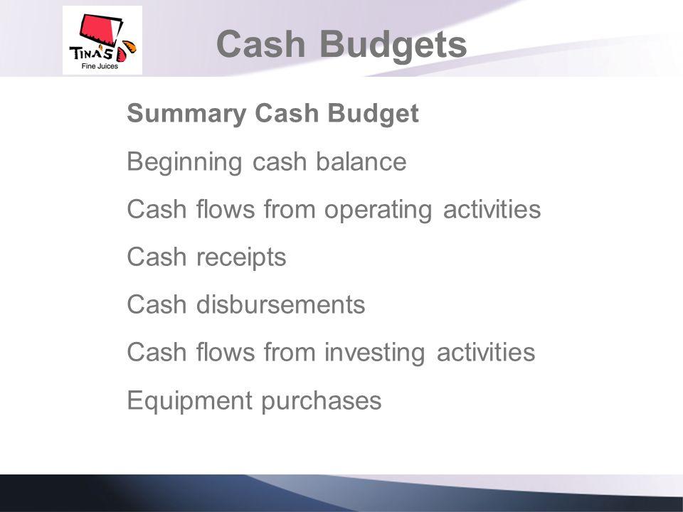 Cash Budgets Summary Cash Budget Beginning cash balance