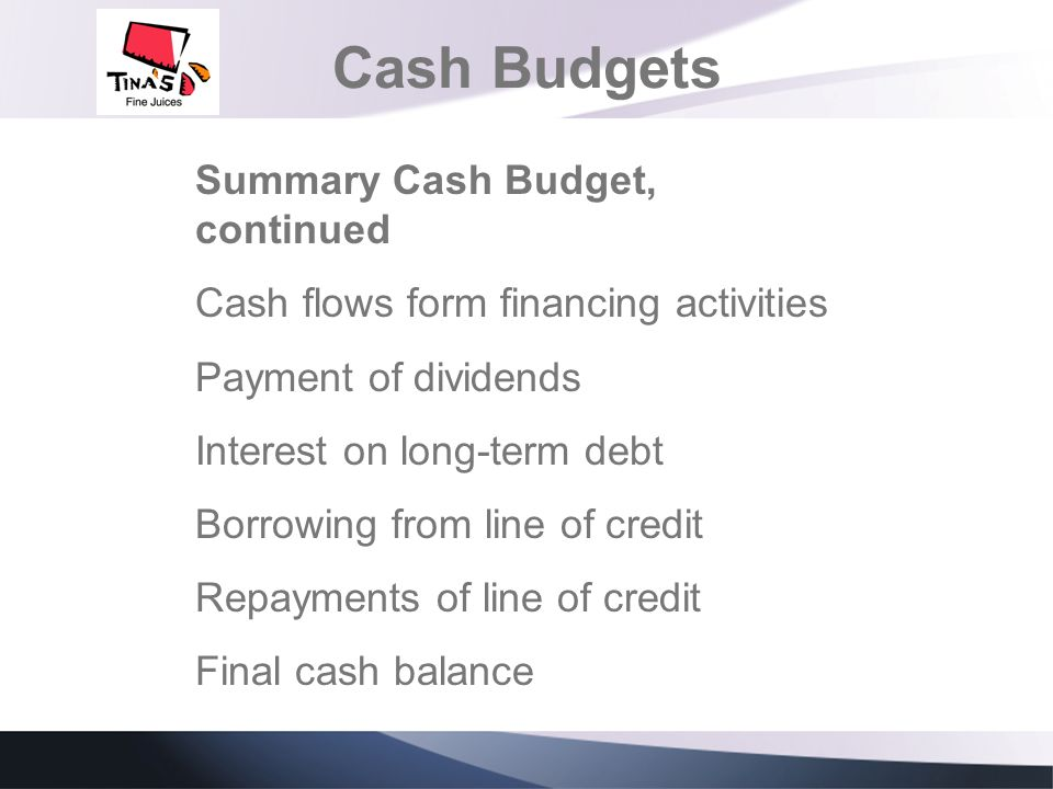 Cash Budgets Summary Cash Budget, continued