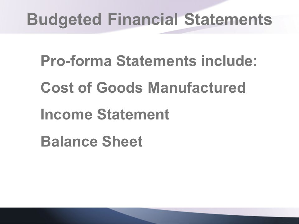 Budgeted Financial Statements