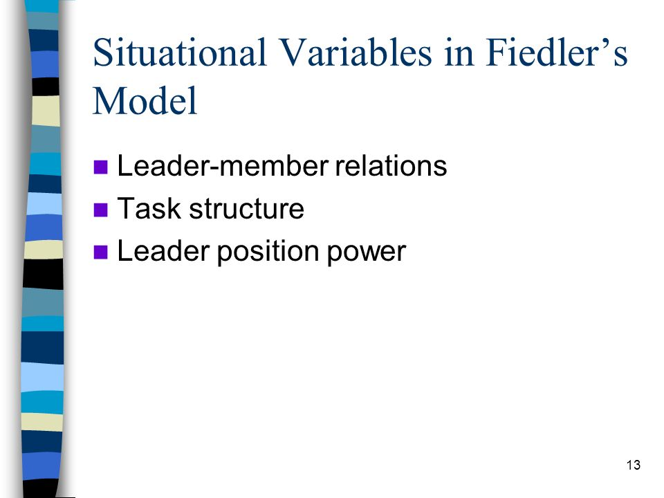 Situational Variables in Fiedler's Model