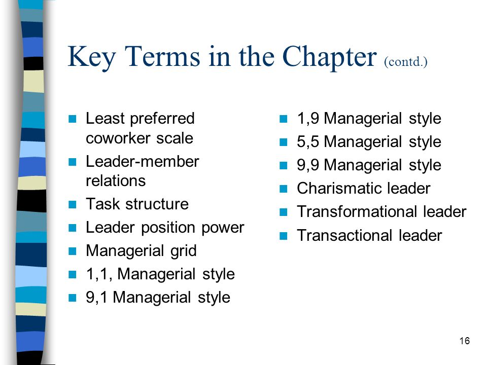 Key Terms in the Chapter (contd.)