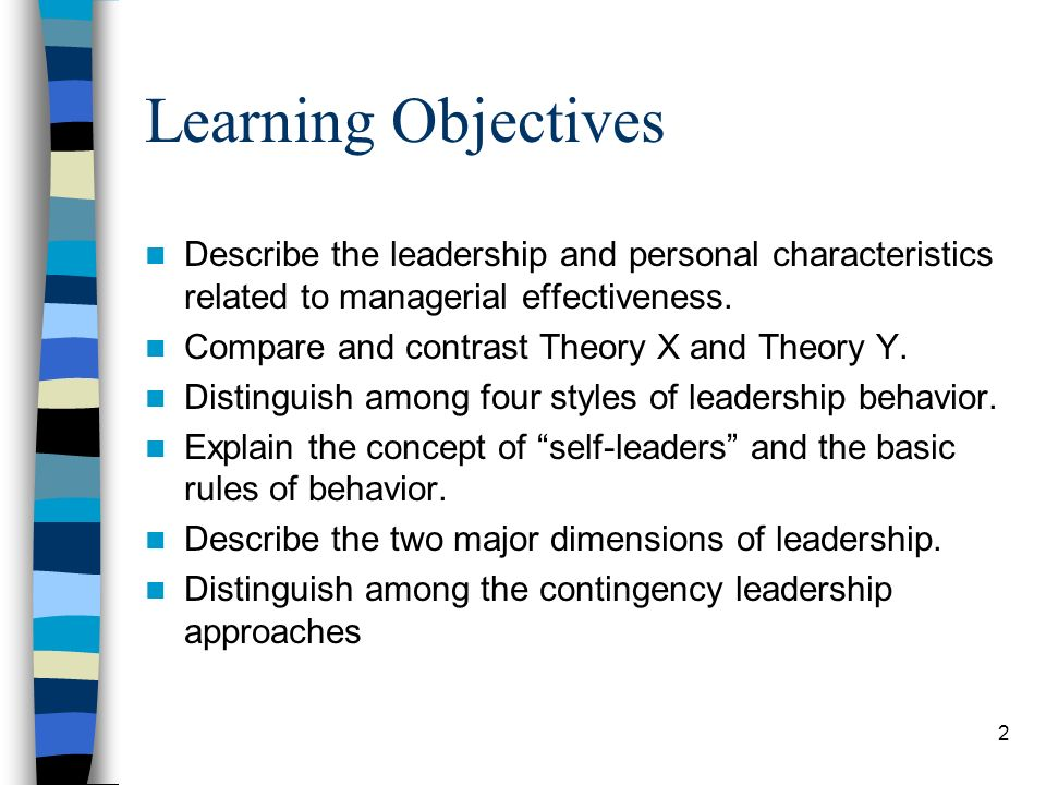 Learning Objectives Describe the leadership and personal characteristics related to managerial effectiveness.