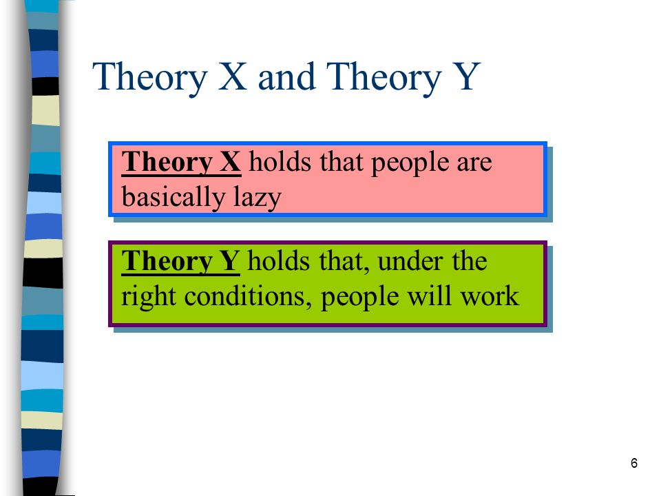 Theory X and Theory Y Theory X holds that people are basically lazy