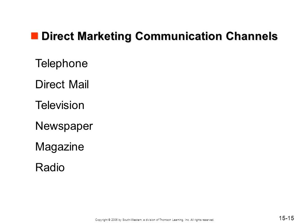 Direct Marketing Communication Channels