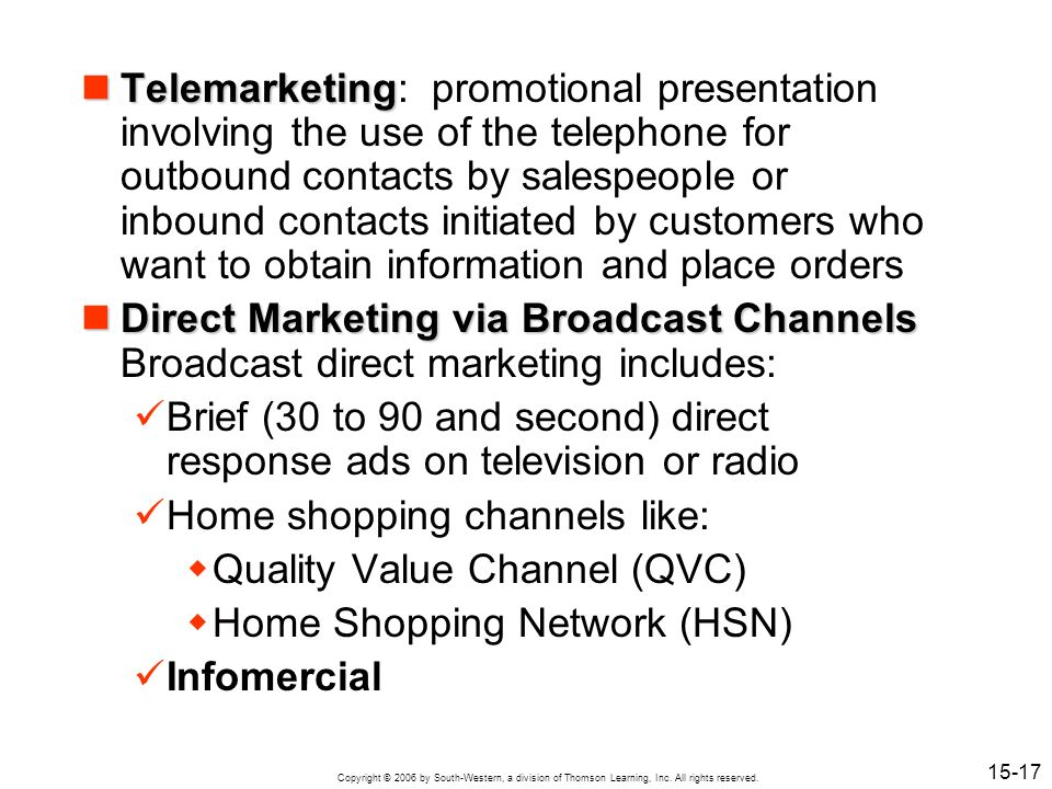 Telemarketing: promotional presentation involving the use of the telephone for outbound contacts by salespeople or inbound contacts initiated by customers who want to obtain information and place orders