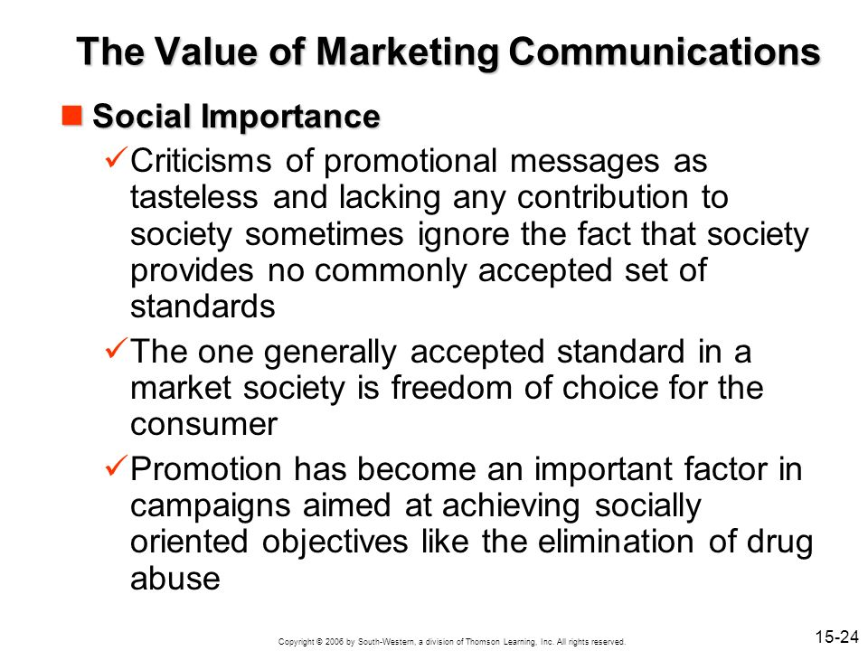 The Value of Marketing Communications