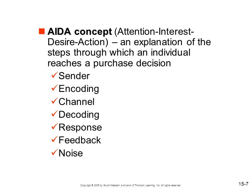 AIDA concept (Attention-Interest-Desire-Action) – an explanation of the steps through which an individual reaches a purchase decision
