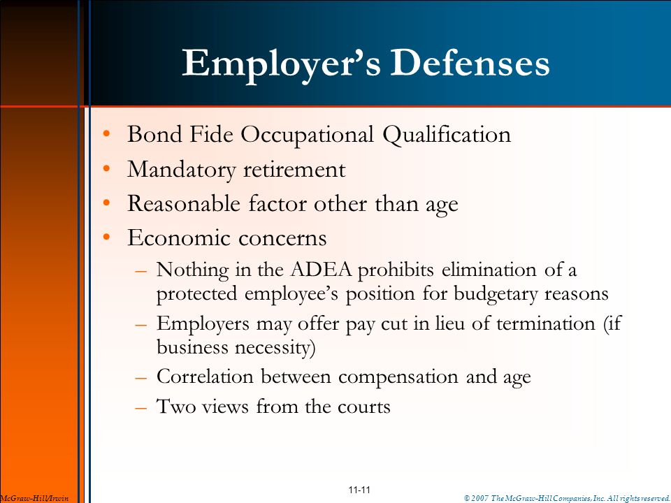 Employer's Defenses Bond Fide Occupational Qualification
