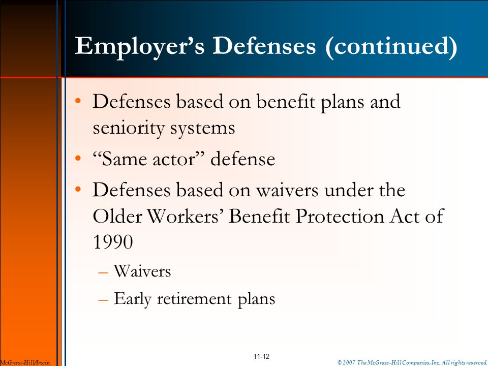 Employer's Defenses (continued)