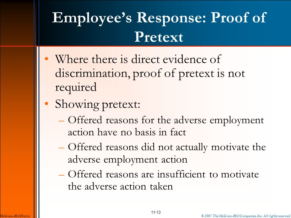 Employee's Response: Proof of Pretext