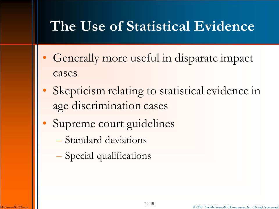 The Use of Statistical Evidence