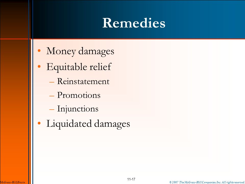 Remedies Money damages Equitable relief Liquidated damages