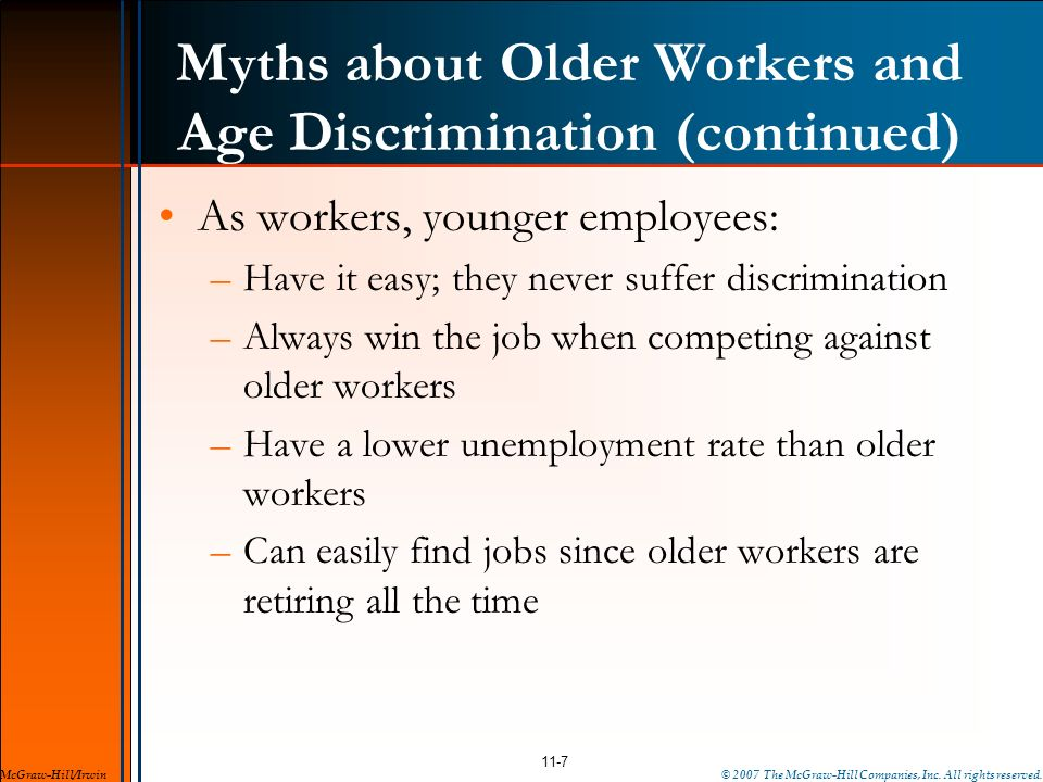 Myths about Older Workers and Age Discrimination (continued)