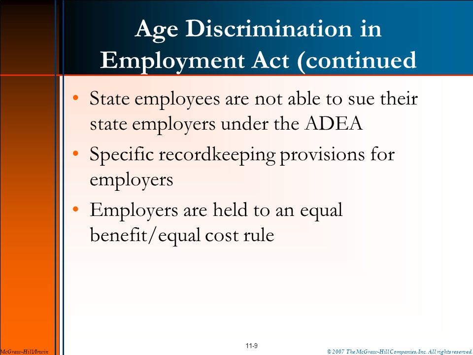 Age Discrimination in Employment Act (continued