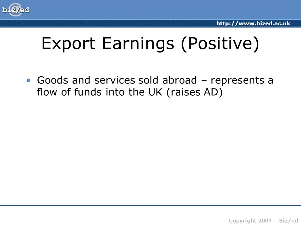 Export Earnings (Positive)