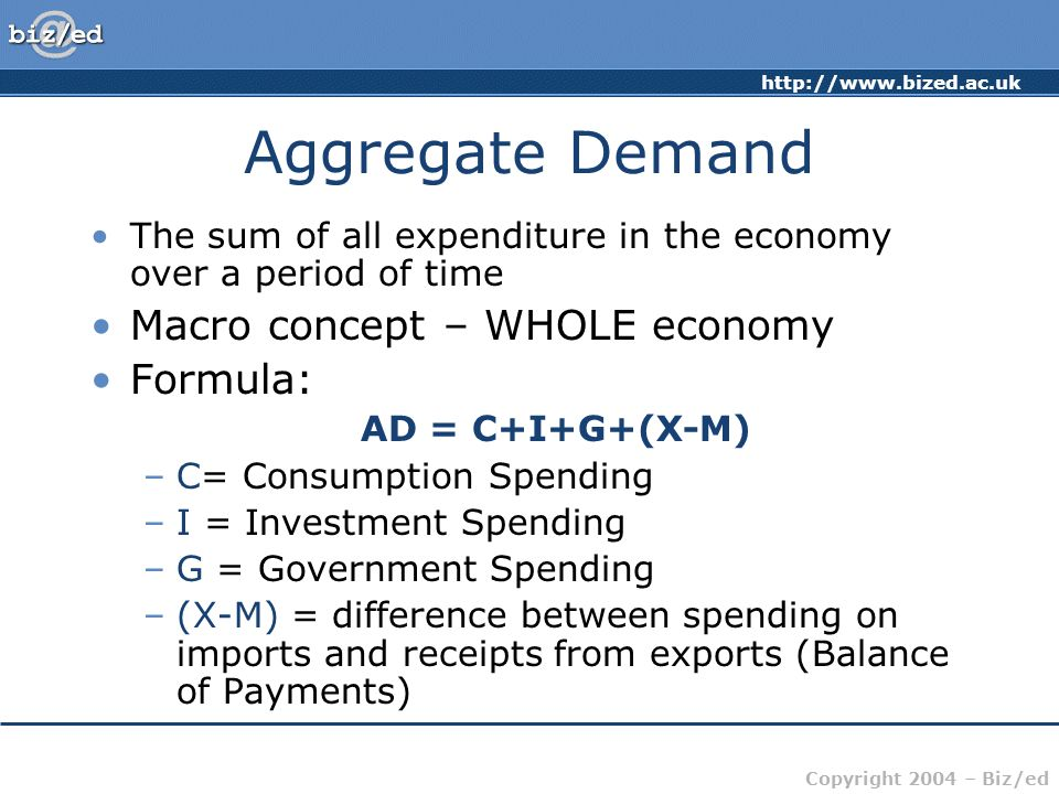 Aggregate Demand Macro concept – WHOLE economy Formula: