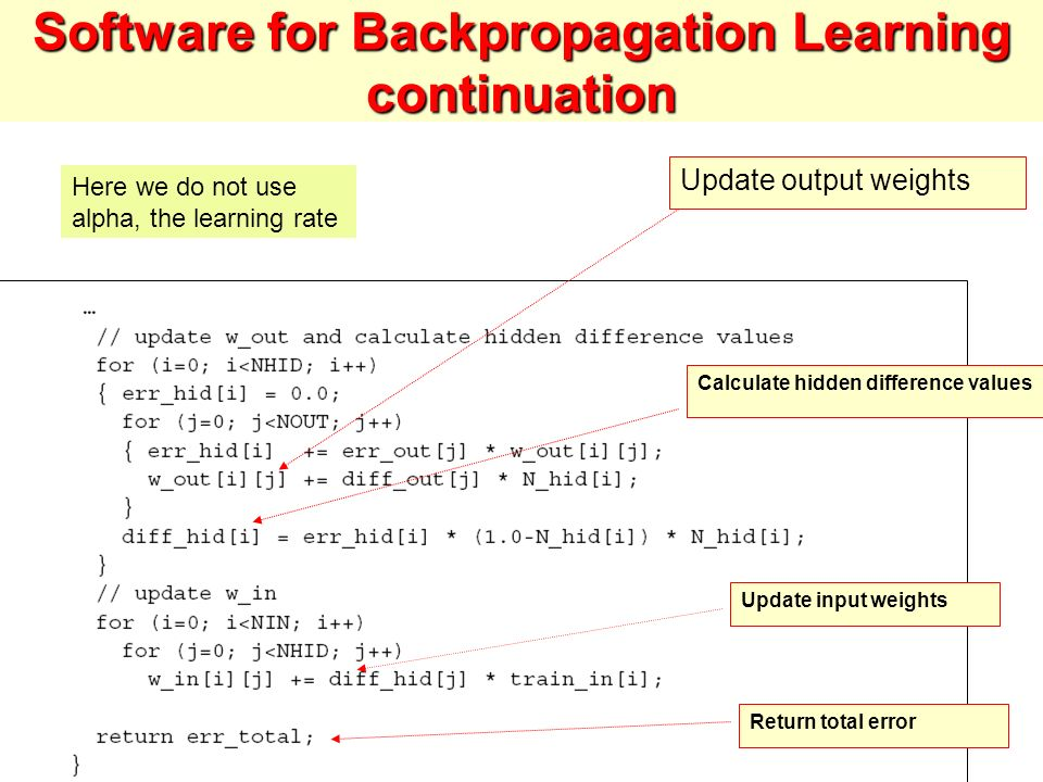 Software for Backpropagation Learning continuation